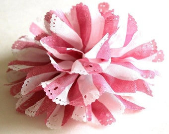 Clearance Sale White and blush pink stripe fabric flower brooch