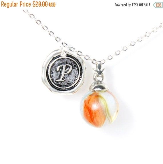 Clearance Sale CHOOSE YOUR INITIAL A-Z charm vintage 40s - 60s cats eye glass marble layering necklace