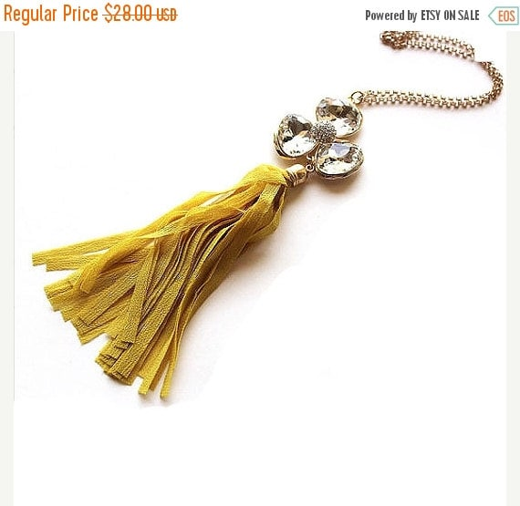 Valentines sale mustard yellow fabric tassel and by for Mustard colored costume jewelry