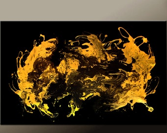 HUGE Abstract Canvas Art Painting 72X48 Gold Metallic Original Contemporary by Destiny Womack  dWo - Enligtenment- SALE