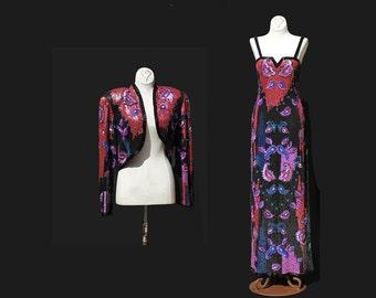 Vintage Multi Color Sequin Evening Dress with Bolero Jacket