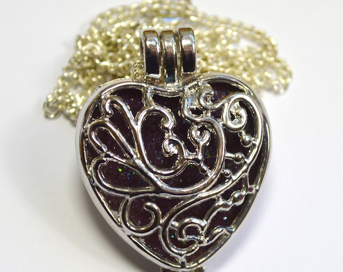 Glow In The Dark Silver Heart Locket