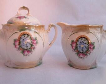 Vintage Bavarian Forget - Me - Not & Roses Sugar and Creamer Set