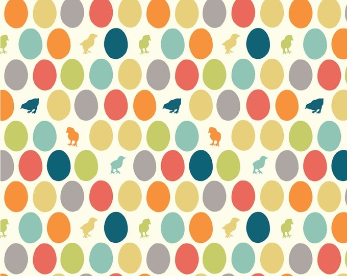 HATCHED Multi Cream Egg Baby Chick 100% Cotton ORGANIC Quilt Fabric by the Yard, Half Yard or Fat Quarter from Farm Fresh by Birch Fabrics