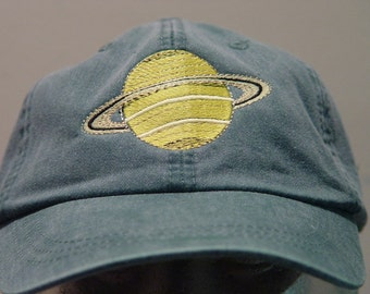 PLANET SATURN HAT - One Embroidered Solar System Cap - Price Embroidery Apparel - 24 Color Caps Available