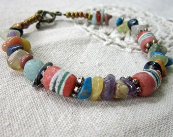Colors of the Rainbow Bracelet - Handpainted African Recycled Glass Beads with Natural Stone Chips