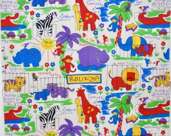 Animals in the Zoo Cotton Fabric