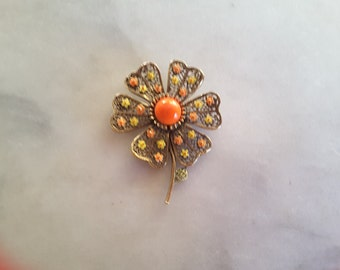 1960s Orange Flower Enamel Brooch Pin