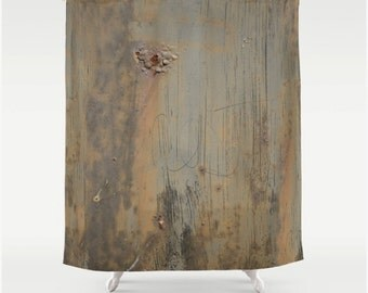 disgusting blistered rusty painted weathered metal surface photo print fabric shower curtain industrial grunge theme