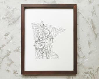 Minnesota> Pink-and-White Lady Slipper> State Flower Drawing> Giclee Print