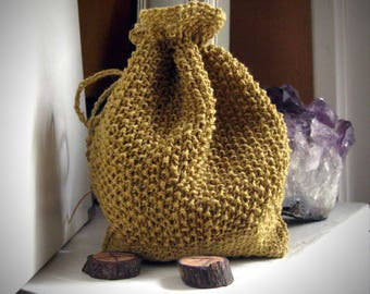 Natural rune bag / rune pouch / knit oracle bag / knit oracle pouch / drawstring rune pouch / crystal pouch / rune casting bag