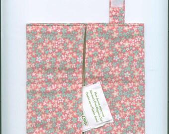 Handmade Fabric Tea Bag Wallet, FLOWER GARDEN- Pink-Grn,Four Pockets, FREE Shipping,  Holds Tea & Sweetener - Also Travel Jewelry Wallet