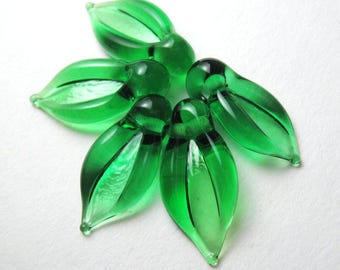LEAF BEADS, Lampwork Beads, handmade transparent emerald green leaves, lampwork leaf bead, glass leaf bead, emerald leaves, emerald lampwork