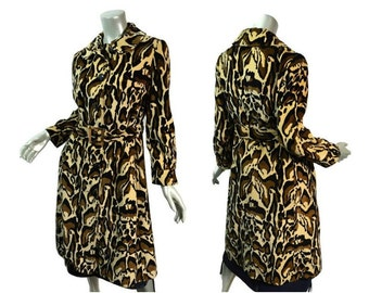 "Psychedelic Leopard Coat ~ Vintage 60s/70s ~  Size Medium 38"" Bust ~ Princess ~ Velveteen Animal Print ~ Belted"