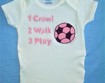 Pink Soccer Baby Bodysuit, Baby Girl Soccer One Piece, Crawl Walk Play Soccer, Baby Girl Sports Bodysuit