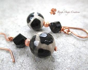 African Tribal Style Earrings, Black & Tan Tibetan Dzi Giraffe Agate Stone Beads, Swarovski Crystal, Copper Ear Wires, Boho Jewelry