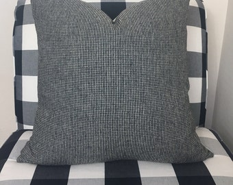 Black and White Houndstooth wool 20x20 pillow cover/ modern/ masculine/ Ready to Ship