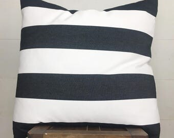 Black & White denim stripe designer fabric pillow cover / 22""