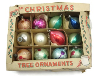 Glass Christmas Ornaments - Tree Ornaments in Box, 12pcs