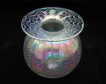 Art Glass Vase - Iridescent, Pulled White Lines, Glass Eye Studio, Mt St Helens Ash