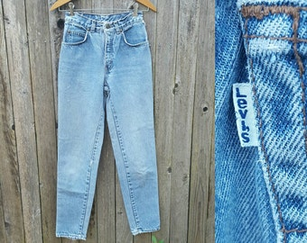 """Vintage Levi's Jeans  //  Vtg 80s 90s LEVI'S Made in the USA Distressed Frayed Trashed Slim Fit Tapered Leg Jeans  //  25.5"""" waist"""