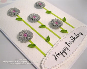 Paper Quilled, Sparkly Floral Happy Birthday card, In stock, READY to SHIP