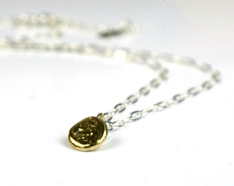 Sterling silver  necklace with 9 carat recycled gold drop, simple short silver and 9k gold necklace, adjustable length, choker, gift for her