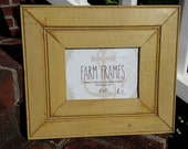 5 x 7 YELLOW old vintage wood picture frame