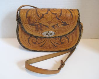 Vintage Hand Tooled Leather Purse Shoulder Bag Handbag
