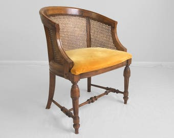 VINTAGE dark walnut & cane barrel accent chair