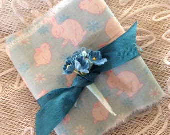 Easter Bunnies on aqua - Spring Tea Dyed Trim for Easter or any Occasion