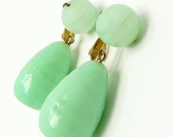 Vintage Signed Vogue Green Jadeite Glass Earrings