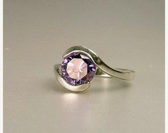 Vintage Sterling Silver Amethyst Cubic Zirconia Ring
