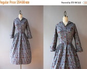 STOREWIDE SALE RESERVED. . .  Vintage 50s Dress / 1950s Rococo Floral Cotton Dress / 50s Cotton Day Dress Medium Large M L