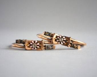 Victorian Bypass Bracelet Pair / Antique Paste and Enamel Gold Filled Bracelets / Matching Victorian Buckle Bangle Bracelets