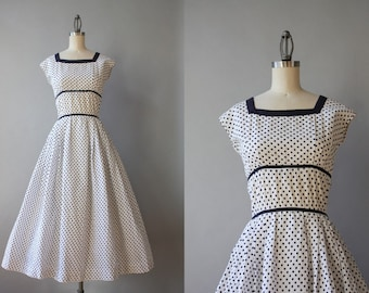 1950s Dress / Vintage 50s Polka Dot Dress / Fifties White and Navy Dotted Cotton Dress