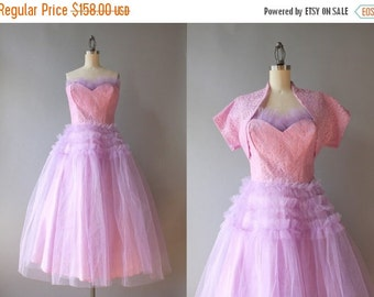 STOREWIDE SALE Vintage 50s Dress / 1950s Lavender Lace and Tulle Party Dress / 50s Strapless Prom Dress Medium M L