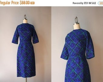 STOREWIDE SALE 1960s Peggy Hunt Dress / Vintage 60s Sapphire and Emerald Knit Dress / 50s Fitted Fall Dress