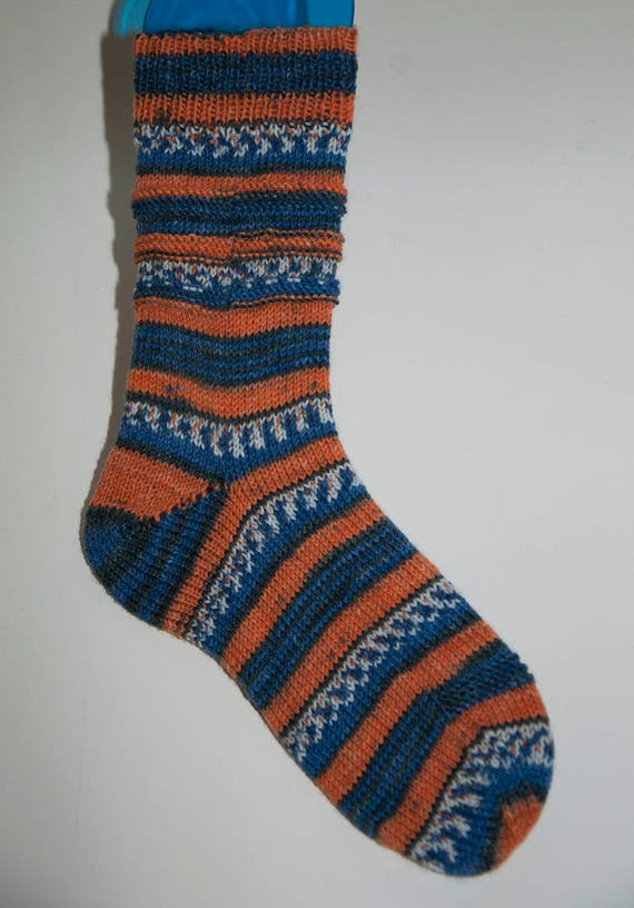 Handknitted Socks in Blue and Orange