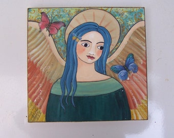 Angel Painting Original Folk Art Encaustic Mixed Media Painting Shabby Butterflies