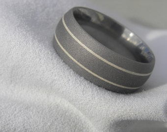 Titanium Ring, Wedding Band, Silver Inlays, 9mm size 11, Clearance Listing