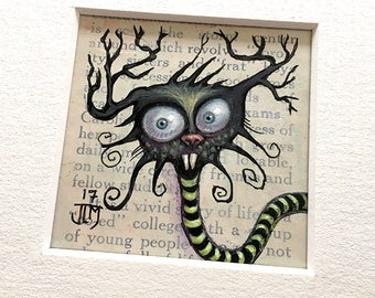 "NEW MINIATURE! ""Neurella Blastohurst"", original miniature mixed media 2"" x 2"" matted to 6x6"" monster, antlers, branches, snakey silly thing"