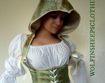 Hooded Steel Boned Underbust Satin Brocade Corset