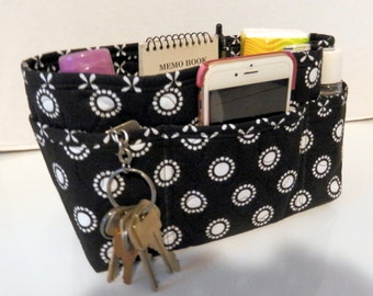 "Purse Organizer Insert/Enclosed Bottom  4"" Depth/ Black and White"