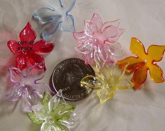 SALE Acrylic Lucite Flower Bead Cap Beads Transparent 28mm Choose Your Colors 421