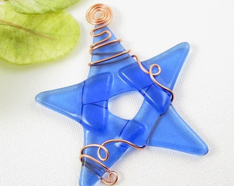 Light Blue Fused Glass Star Ornament - Blue Glass Christmas Ornament - Star Ornament - Blue Star Christmas Tree Ornament