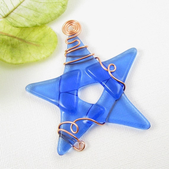 Light Blue Fused Glass Star Ornament - Blue Glass Christmas Ornament - Star Ornament - Blue Star Christmas Tree Ornament
