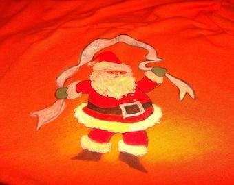 Tropical Santa Happy Holidays Painted Tee Shirt Orange Size Medium Front and Back Art Nurses Teachers Friend Gift Graphic Tshirt