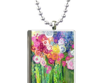 Flower Bouquet Glass Pendant, Bright and Colorful Glass Necklace, Hand Made Floral Glass Art Pendant