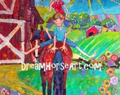 """Children with Horse, """"Behind the Barn"""" original painting, large 30 x 40 canvas, whimsical art by artist M Theresa Brown, Dream Horse Art USA"""